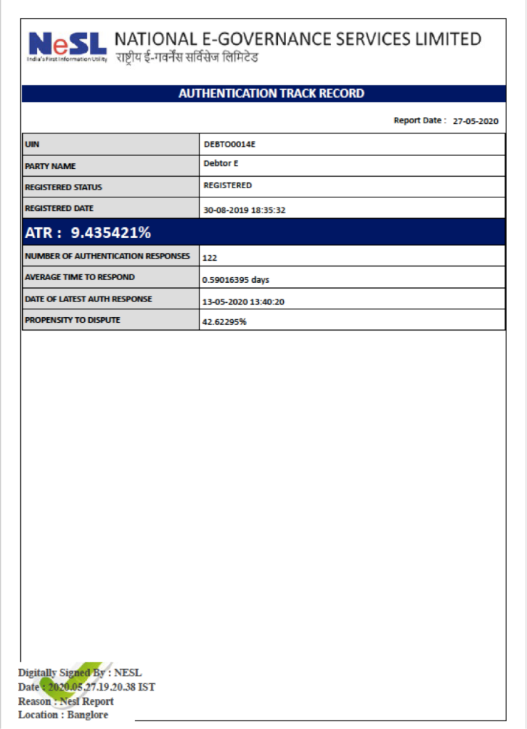 NeSL Authentication Track Record